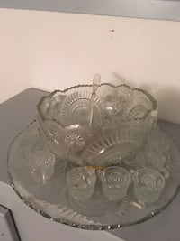 Solid crystal punch bowl with cups