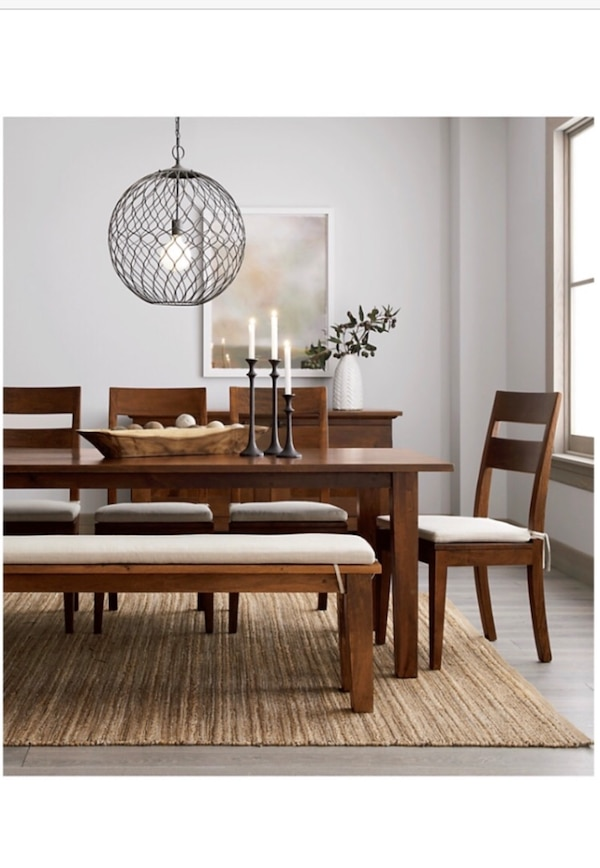 Crate Barrel Basque Honey 82 Dining Table With 6 Wood Chairs No Bench