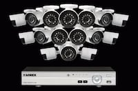 white and black security camera set