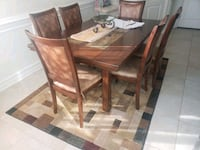rectangular brown wooden table with four chairs dining set Chesapeake, 23323