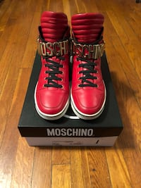 Men's Moschino logo high top sneakers size 45 (12) paid $600 authentic with box.  The shoes are in excellent condition. Worn a couple of times Washington, 20002