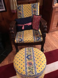 Antique Wooden Chair with Ottoman