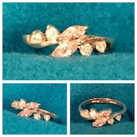 .925 Sterling Silver Light Rose Double Marquise & CZ Ring  912 mi