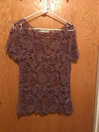 brown knit floral scoop-neck shirt Great Falls, 59405