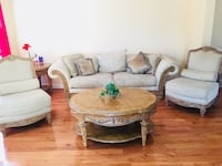 brown wooden framed white padded sofa set 5 km