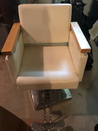 White leather barber chair with hydraulic pump and swivel  West Hartford, 06107