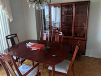 rectangular brown wooden dining table with six chairs Toronto, M1P 4S5