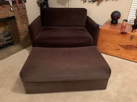Oversized Brown Microfiber Chair and Ottoman