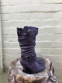 Pair of purple  leather boots