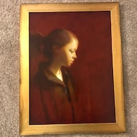 "Martin A. Poole (American,20th C) ""Tay"" Portrait of a Girl Oil on Board Painting Warrenton"