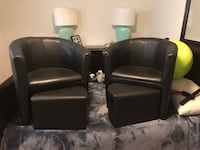 Two black leather sofa chairs Baltimore, 21234