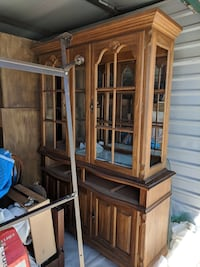 Brown wooden framed glass display cabinet. PRICE REDUCED! San Antonio, 78229