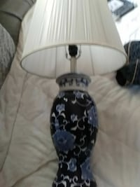 black and blue floral base white shade table lamp