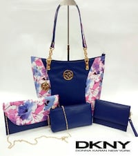 blue and pink DKNY leather 4-in-1 bag set