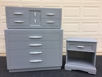 Large 8 Drawer Solid Wood Tallboy Dresser With Nightstand Gray With White Handles Manassas, 20112
