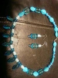 women's teal-and-white beaded necklace and earring Woodbridge, 22192