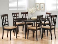 Cappuccino dining room table with four tan microfiber chairs Bellair, 32073