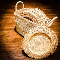 12 Woven Rattan Dishes / Plates With Basket Toronto, M9R 3G8
