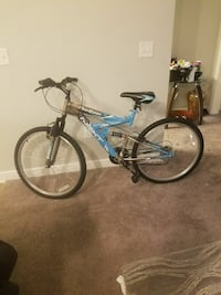 blue and gray Next full-suspension bike