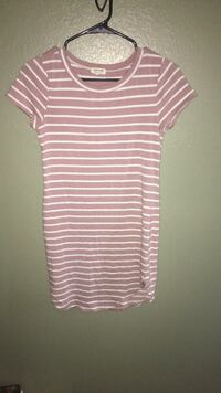 white and pink stripe scoop-neck dress San Angelo, 76905