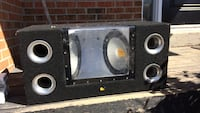 Black and gray subwoofer box with mid range speakers Acton, L7J 1M9