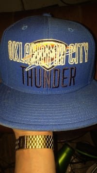 blue and white Oklahoma City Thunder fitted cap