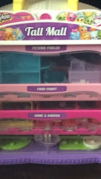 Pink and white plastic container