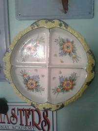 white and pink floral ceramic plate Duncannon, 17020