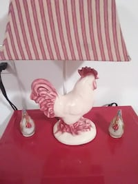 white rooster ceramic table lamp with white and red stripe lampshade Gaithersburg, 20878
