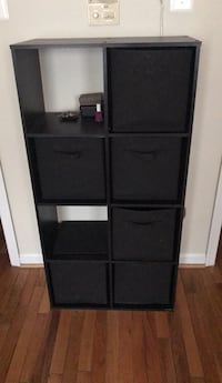 Tall cubby storage bookcase, black, 6 baskets included Washington, 20009