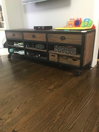 black and gray wooden TV stand Toronto, M6E 3P8