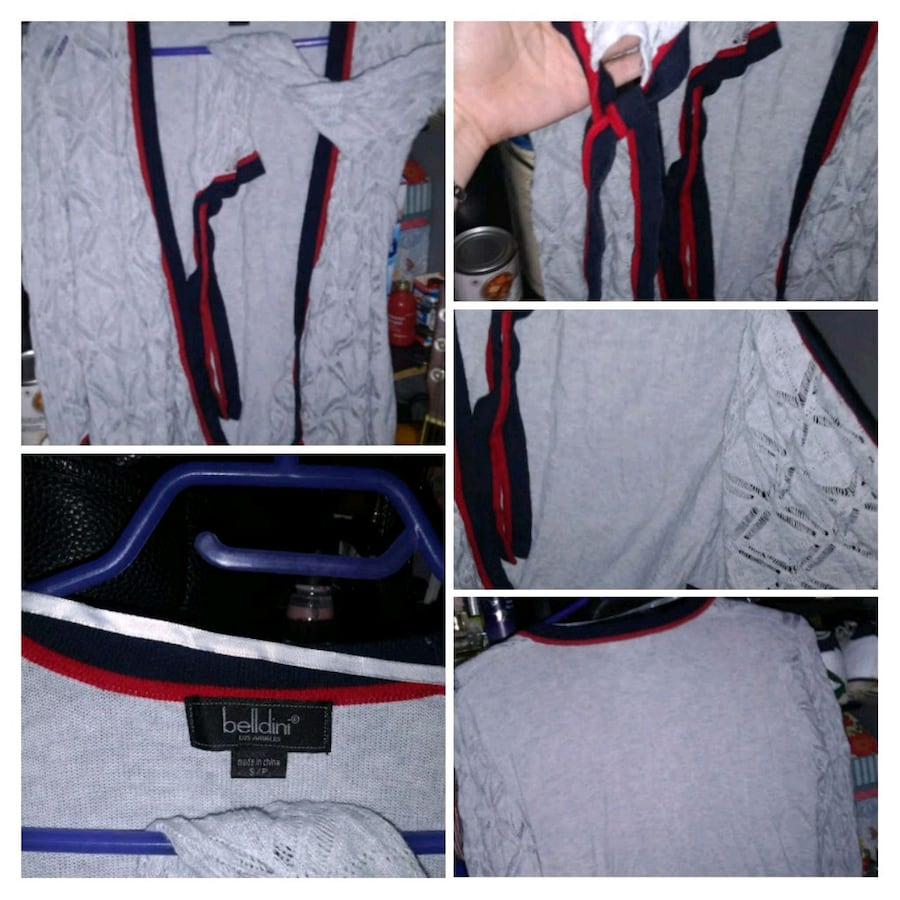 Bellidini grey with blue/red accents Ladies Cardigan. bd40d531-b070-436c-8a6c-66a968c18792