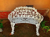 Vintage French Victorian white garden bench seat  Los Angeles, 91304