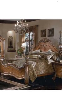 MICHAEL Amini queen size.  Bedframe. Bureau. With mirror    Night table extra $$$ Montréal, H2X 1J6