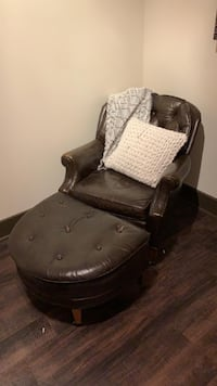 Dark brown Leather chair with footrest Las Vegas
