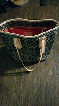 monogrammed brown and black Coach leather tote bag Tuscaloosa