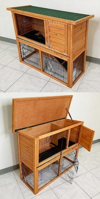 """New $95 Wooden 44x17x36"""" Rabbit Hutch Pet Cage with Run Asphalt Roof Bunny Small Animal House Alhambra"""