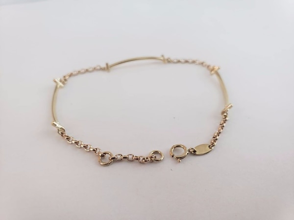 10k Yellow Gold Bar Section Bracelet 418a071d-8b86-41a9-ad89-38fca4d11a29