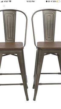 4 Dining Counter Height Bar Stools High Back Chair Wood Top 24""