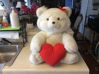 White bear with red heart plush toys