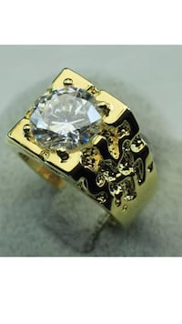 18k GF Men's Ring With Clear CZ Size 9