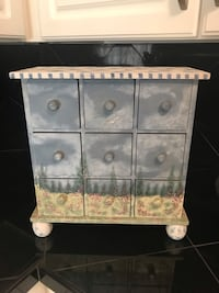 "Chest with drawers, gorgeous bought from Jacobson's for over 100.00 , wooden hand painted, stands 14"" tall by 13' wide / perfect condition Sarasota, 34236"