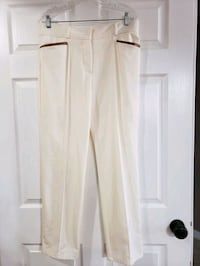 Size 12 cream colored pants with leather trimmed pockets 10.00 Fairfield, 17320