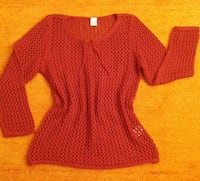 Damen Pullover Strick Ajour Muster Gr. 38 in Rot WOW Elsfleth