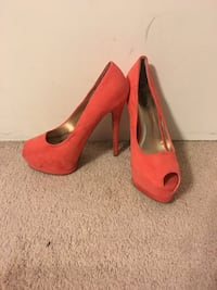Pair of red leather platform stilettos 954 mi