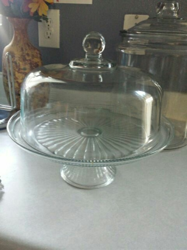 60% Off glass covered cake stand