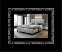 Grey platform bed with mattress all size Laurel