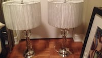 two clear glass base white shade table lamps Toronto, M2R 3T8