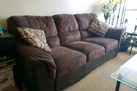 brown suede sectional sofa with throw pillows Calgary, T2P