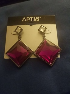 purple gemstone drop earrings
